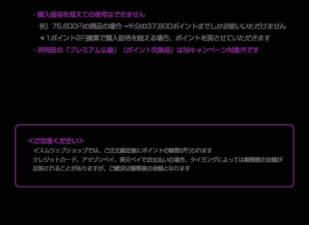 イスム全商品1ポイント=2円キャンペーン ご注意事項